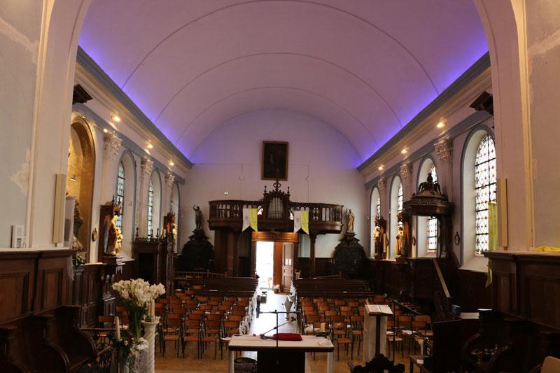 Réfection électrique intérieur, installation d'éclairage extérieur LED et de la sonorisation de l'église de Ruitz